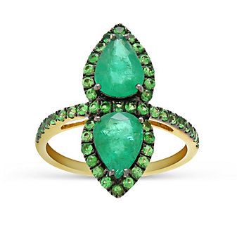 18K Yellow Gold Pear Shaped Emerald & Round Demantoid Garnet Ring