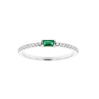 14K White Gold Baguette Emerald and Round Diamond Ring