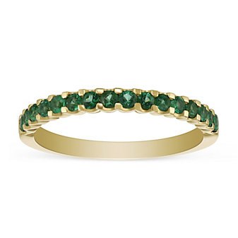 14K Yellow Gold Round Emerald Band