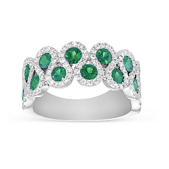14K White Gold Round Emerald and Round Diamond S-Curve Ring