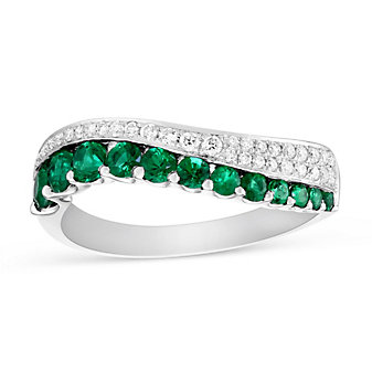 14K White Gold Emerald and Diamond Wave Ring