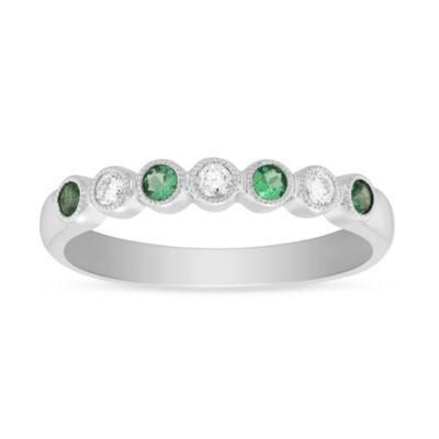 14K White Gold Round Emerald and Round Diamond Bezel Set Milgrain Ring