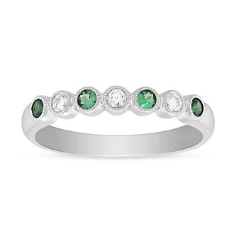 14K White Gold Round Emerald and Round Diamond Bezel Set Milgrain Ring