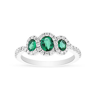 14k white gold 3 oval emerald & round diamond ring