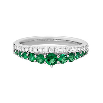 14K White Gold Emerald and Diamond Graduated 2 Row Ring
