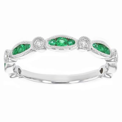 14k white gold emerald & diamond navette milgrain station ring