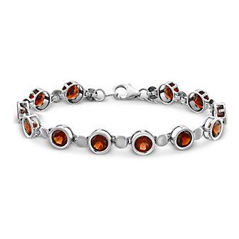 "Sterling Silver Garnet Bracelet, 7"""
