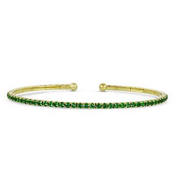 18K Yellow Gold Tsavorite Garnet Cuff Bracelet