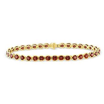 "14K Yellow Gold Garnet Bezel Set Bracelet, 7"""