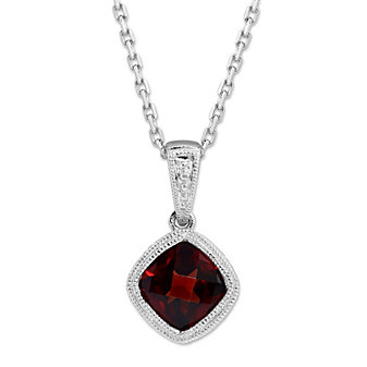 14K White Gold Cushion Checkerboard Garnet Bezel Set Pendant