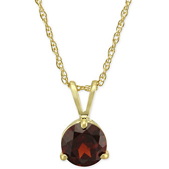 14K Yellow Gold Round Garnet Pendant, 6mm