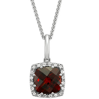 14K White Gold Checkerboard Faceted Cushion Garnet and Round Diamond Pendant