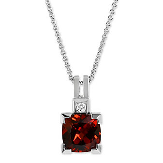 14K White Gold Cushion Garnet and Round Diamond Pendant