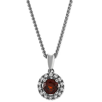 14K White Gold Round Garnet and Diamond Halo Pendant