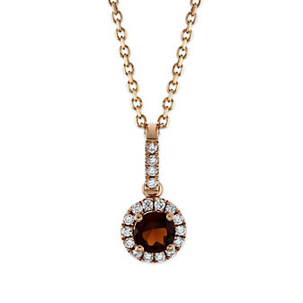 14K Rose Gold Garnet and Round Diamond Halo Pendant