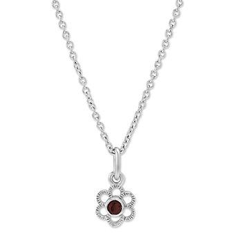 """Sterling Silver Child's Garnet Flower Pendant, 15"""""""