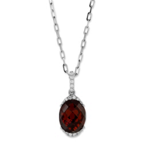 14K_White_Gold_Checkerboard_Oval_Garnet_and_Round_Diamond_Pendant