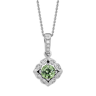 14K White Gold Demantoid Garnet and Round Diamond Pendant