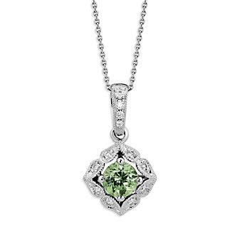 14K White Gold Demantoid Garnet and Round Diamond Pendant