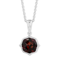 14K_White_Gold_Garnet_Pendant_with_Double_Milgrain_Edge,_18""