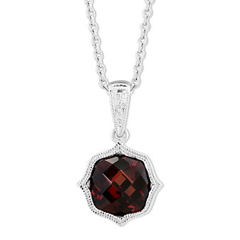 14K White Gold Garnet Pendant with Double Milgrain Edge, 18""
