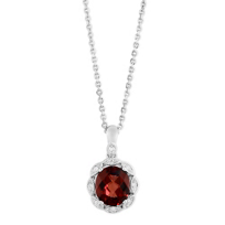 14K_White_Gold_Oval_Checkerboard_Garnet_and_Diamond_Milgrain_Pendant,_18""