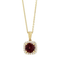 14K_Yellow_Gold_Round_Rhodolite_Garnet_and_Diamond_Pendant,_18""
