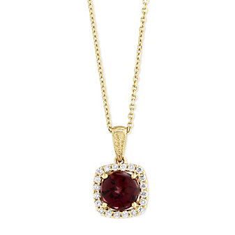14K Yellow Gold Round Rhodolite Garnet and Diamond Pendant, 18""