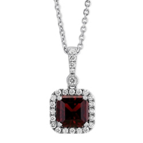 14K_White_Gold_Cushion_Garnet_and_Round_Diamond_Halo_Pendant,_18""
