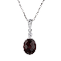 "14k_white_gold_oval_checkerboard_garnet_pendant_with_diamond_&_milgrain_edge,_18"""