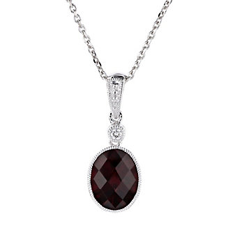 14k white gold oval checkerboard garnet pendant with diamond & milgrain edge, 18""