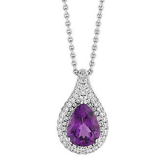 "18K White Gold Pear Shaped Purple Garnet and Diamond Pave Halo Pendant, 17"""
