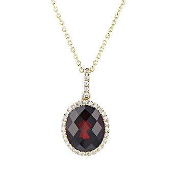 14k yellow gold oval checkerboard garnet pendant with diamond halo