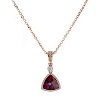 """14k_rose_gold_checkerboard_trillion_rhodolite_garnet_&_diamond_milgrain_bezel_pendant,_18"""""""