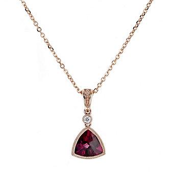 """14k rose gold checkerboard trillion rhodolite garnet & diamond milgrain bezel pendant, 18"""""""