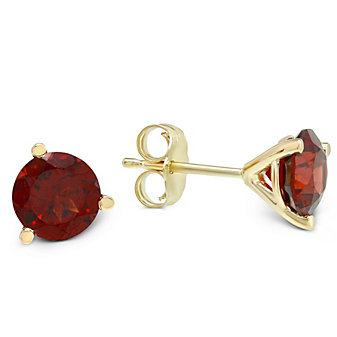 14K Yellow Gold Round Garnet Stud Earrings, 6mm