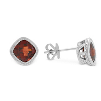 14K_White_Gold_Cushion_Checkerboard_Garnet_Bezel_Set_Earrings