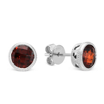 14K_White_Gold_Round_Checkerboard_Garnet_Bezel_Set_Stud_Earrings