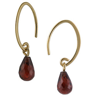 14K Yellow Gold Briolette Garnet Dangle Earrings