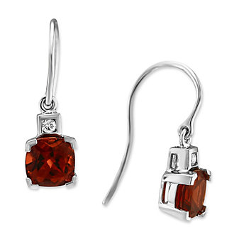 14K White Gold Cushion Garnet and Round Diamond Earrings