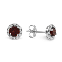 14K_White_Gold_Round_Garnet_and_Round_Diamond_Halo_Earrings