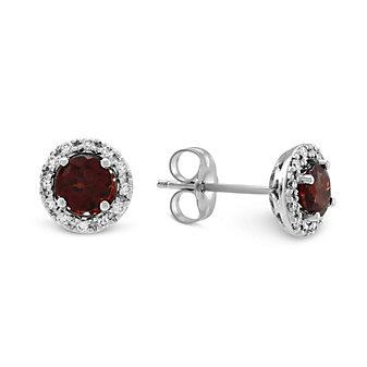 14K White Gold Round Garnet and Round Diamond Halo Earrings