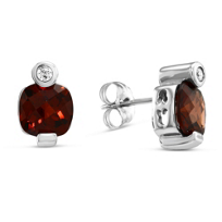 14K_White_Gold_Cushion_Checkerboard_Garnet_and_Round_Diamond_Earrings