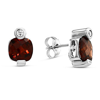 14K White Gold Cushion Checkerboard Garnet and Round Diamond Earrings