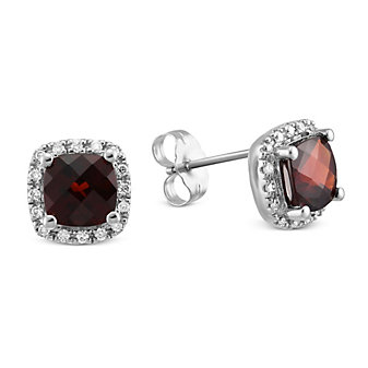 14K White Gold Checkerboard Cushion Garnet and Round Diamond Earrings