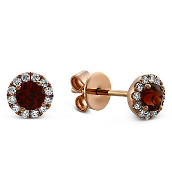 14K Rose Gold Garnet and Round Diamond Halo Earrings
