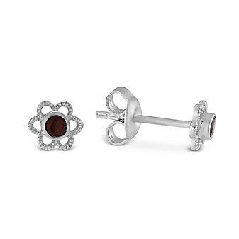 Sterling Silver Child's Garnet Flower Earrings