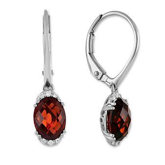14K White Gold Oval Checkerboard Garnet & Round Diamond Earrings