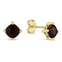 14K_Yellow_Gold_Buff_Top_Garnet_Earrings