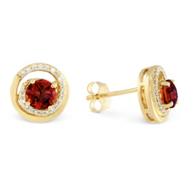 14K_Yellow_Gold_Garnet_&_Round_Diamond_Swirl_Earrings